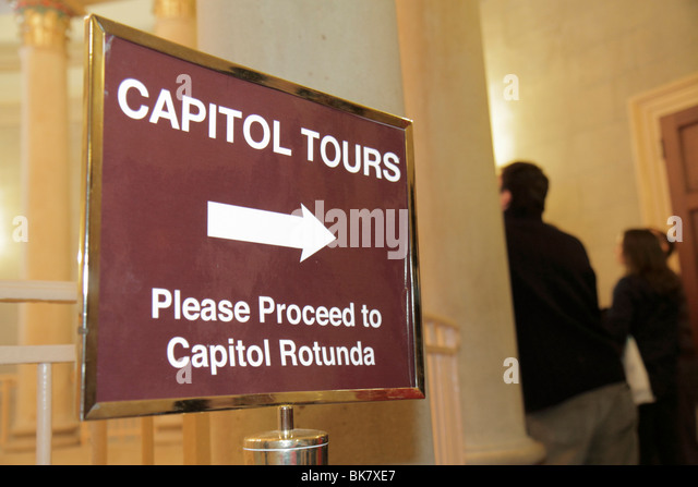 Washington DC United States US Capitol government Congress Rotunda tours visitor sign arrow direction - Stock Image