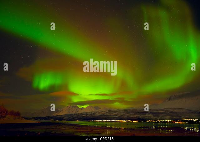 Aurora borealis (Northern Lights) seen over the Lyngen Alps, from Sjursnes, Ullsfjord, Troms, North Norway, Scandinavia, - Stock Image