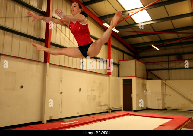 Double European gymnastics champion Beth Tweddle at a training venue near Liverpool, UK. - Stock Image