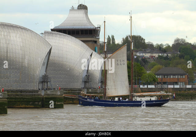 London, United Kingdom - April​ ​13: The Gallant sails through the Thames Barries during the 2017 Regatta. Around - Stock Image