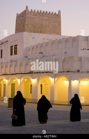 Qatar Doha Souk veiled women in black - Stock Image