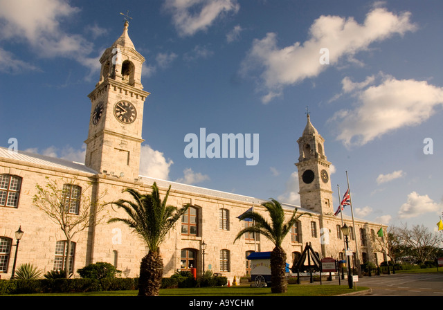 Bermuda Dockyard ClockTower Shopping Mall clock tower Royal Naval Dockyard - Stock Image