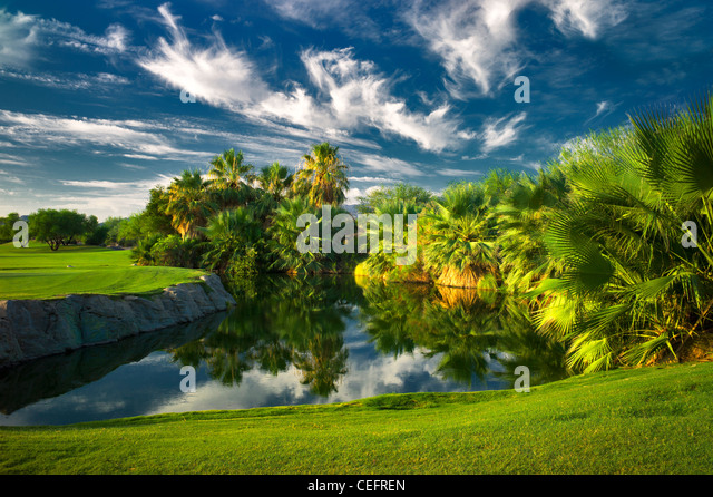 Pond at Desert Willow Golf Resort. Palm Desert, California - Stock Image