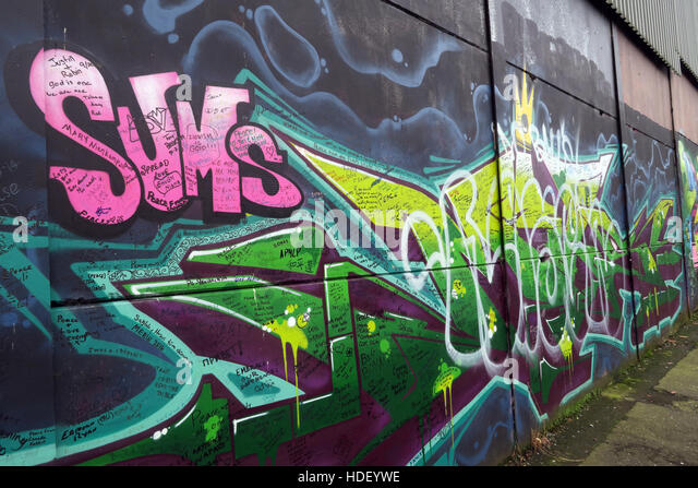 Sums - International Peace Wall,Cupar Way,West Belfast, Northern Ireland, UK - Stock Image
