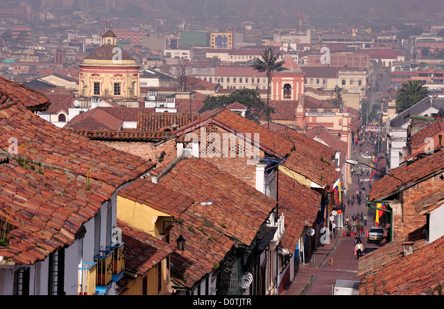 View, old town, tile, roofs, Historical center, Bogota, Colombia, South America - Stock Image
