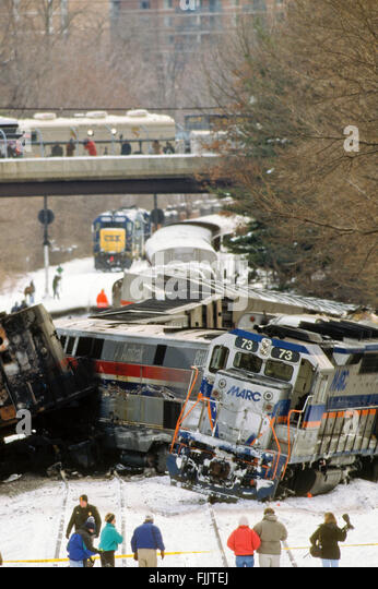 Silver Spring, Maryland. USA, 17th February, 1996 The clean up the day after the fatal train crash. When a MARC - Stock Image