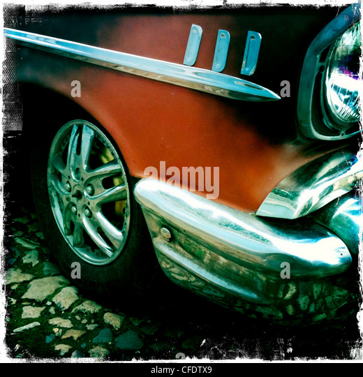 Detail of classic American car on the cobbled streets of Trinidad, Cuba, West Indies, Caribbean, Central America - Stock Image