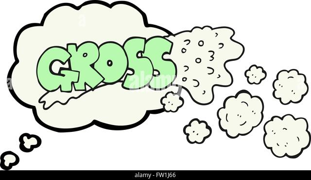 gross freehand drawn thought bubble cartoon - Stock Image