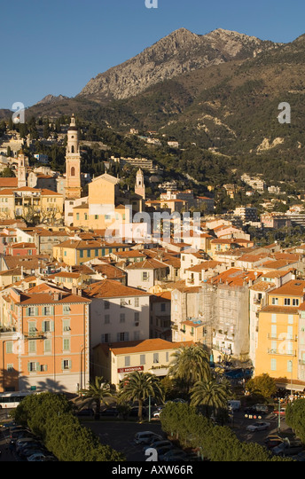 Menton, Alpes Maritimes, Provence, Cote d'Azur, French Riviera, France, Mediterranean, Europe - Stock Image