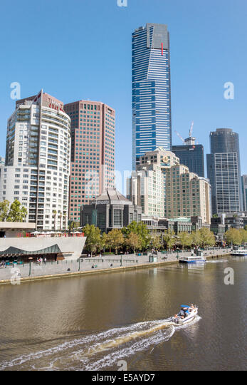 Melbourne Australia Victoria Southbank Yarra River Eureka Tower tallest building city skyline skyscrapers boat - Stock Image