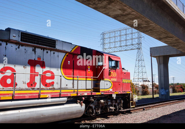 California CA Los Angeles public transportation railroad train tracks power lines Burlington Northern and Santa - Stock Image