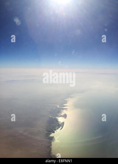 Aerial view of coastline at morning - Stock Image