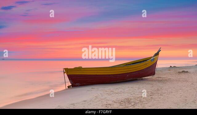 Sunset time landscape, romantic scene, Baltic Sea, Poland - Stock Image