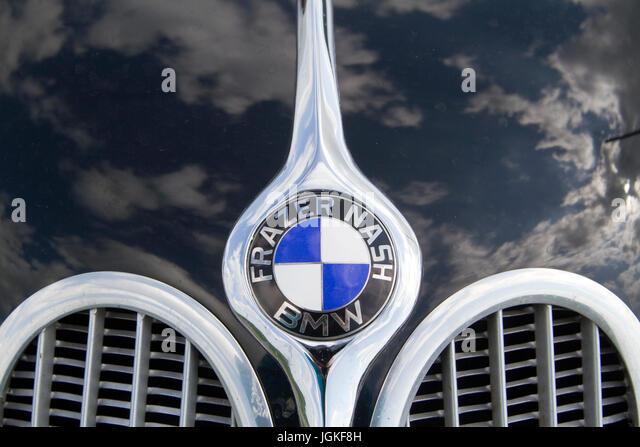Bonnet/hood badge on vintage BMWs - Stock Image