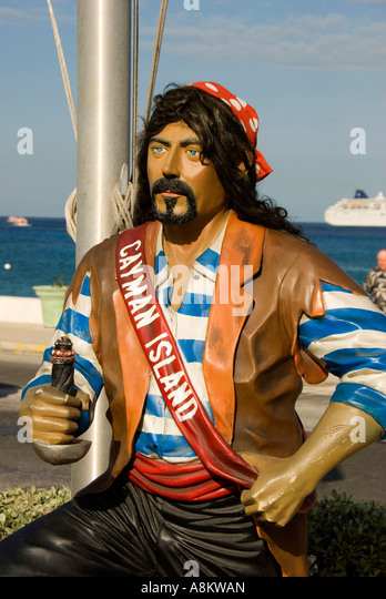 Grand Cayman George Town pirate statue - Stock Image