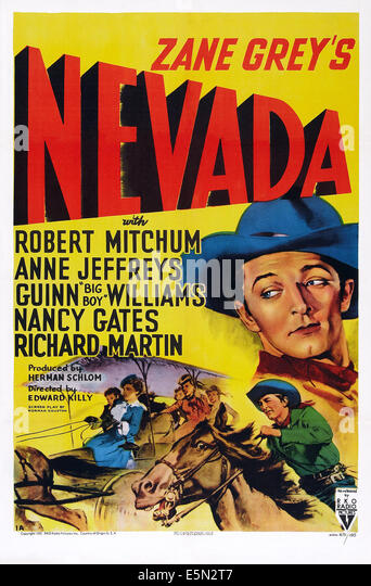 NEVADA, US poster art, right: Robert Mitchum, 1944. - Stock Image