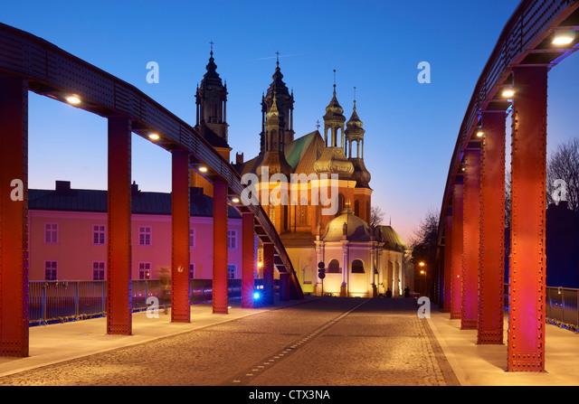 Jordan Bridge and the Franciscan Church - Bernardine, Poznan, Poland, Europe - Stock Image