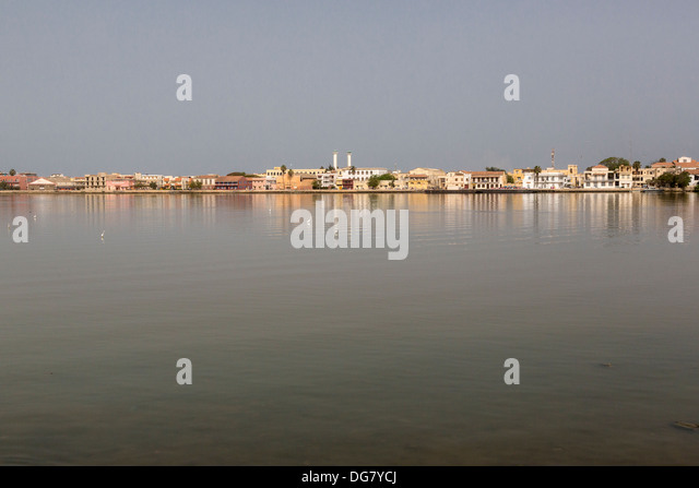 Senegal, Saint Louis. View from the Mainland, across the River Senegal. - Stock Image