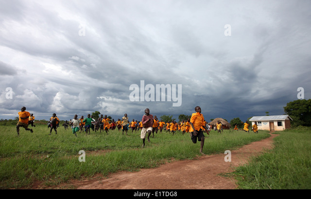School children play in their village in the Lira district of northern Uganda. - Stock Image