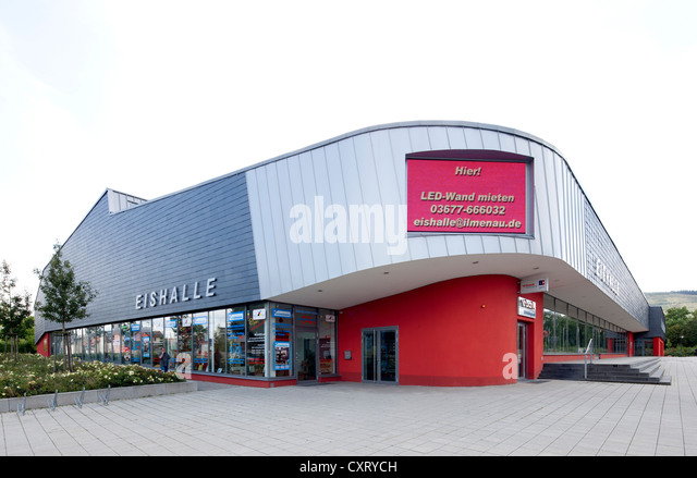 Eishalle Ilmenau, an ice skating rink and entertainment venue, Ilmenau, Thuringia, Germany, Europe, PublicGround - Stock Image