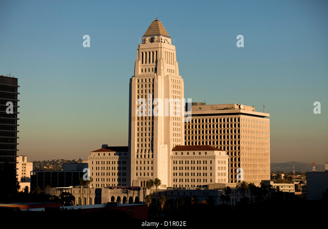 City Hall, Downtown Los Angeles, California, United States of America, USA - Stock Image