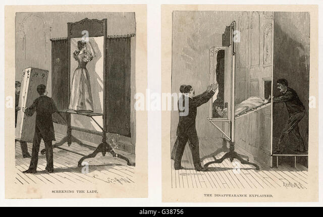 Illustrations showing how the  'Vanishing Lady' trick works         Date: 1890's - Stock-Bilder