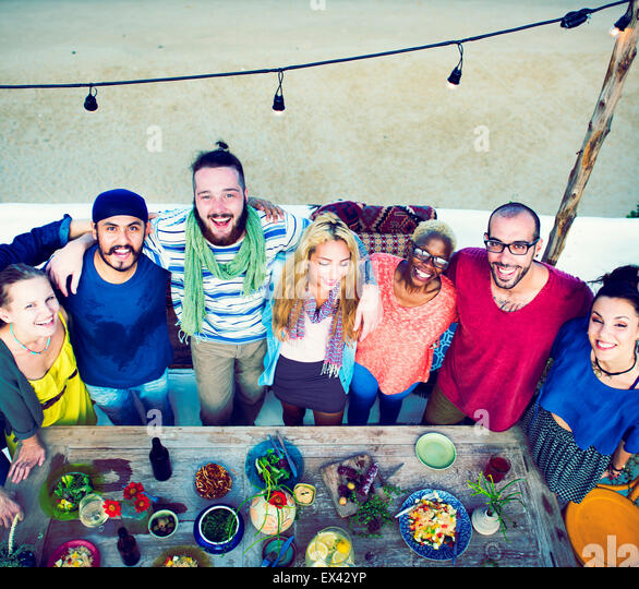 Diverse Beach Summer Friends Holding Together Concept - Stock Image