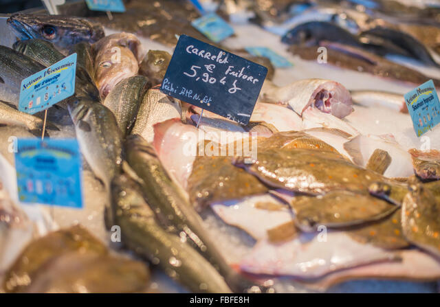 High Angle View Of Fish And Meat On Display At Store - Stock Image