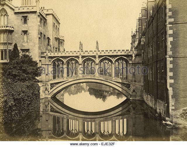 Circa 1870 Albumen Print of the Bridge of Sighs Cambridge University Saint Johns College Vintage Archival Print - Stock-Bilder