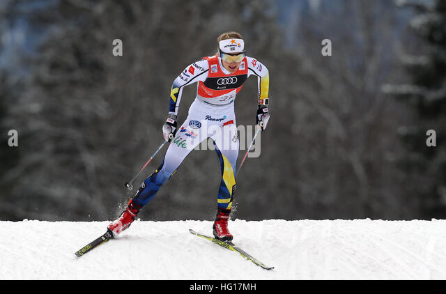 Oberstdorf, Germany. 04th Jan, 2017. First-place winner Stina Nilsson of Sweden skis in the women's pursuit - Stock-Bilder