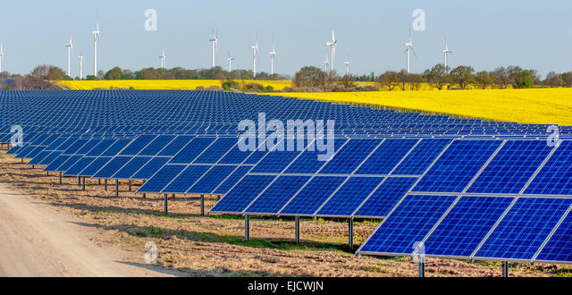 Wind turbines and solar panels - Stock Image