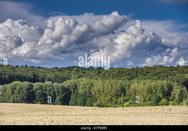 Rain clouds gathering / approaching summer storm - France. - Stock Image