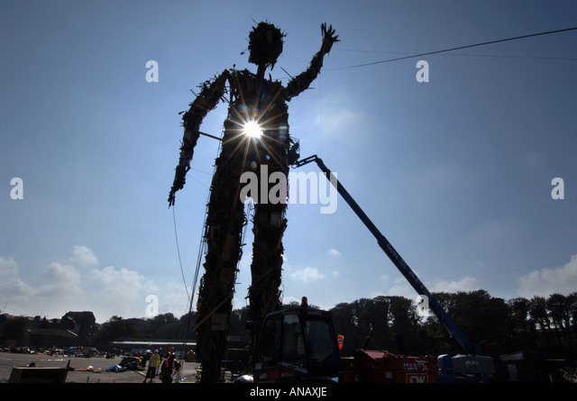 The Wasteman, an environmentally friendly 75ft high giant sculpture made entirely of rubbish by sculptor Antony - Stock Image