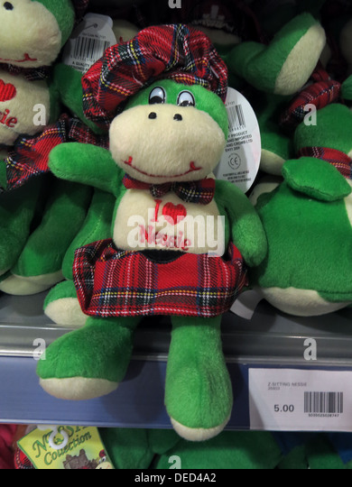I love Nessie green puppet with sporran , Edinburgh Scotland - Stock Image
