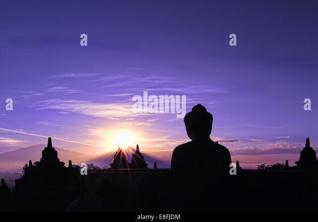 Indonesia, Java, Magelang, Silhouette of Borobudur Temple - Stock Image