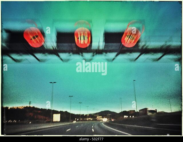 Speed limit sign in a freeway near Barcelona, Catalonia, Spain - Stock Image