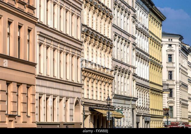 Facades of Old Houses at Chamisso Square in Kreuzberg, Chamissoplatz, Real Estate, Berlin - Stock Image