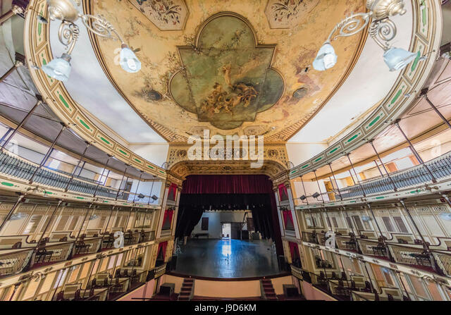 Interior view of the Teatro Tomas Terry (Tomas Terry Theatre), opened in 1890 in the city of Cienfuegos, UNESCO, - Stock-Bilder