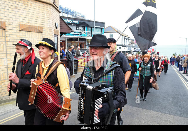 The Cornish contingent marching in the parade at the Celtic festival Held in Newquay, Cornwall, UK - Stock Image