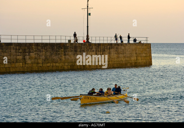 The Porthleven Gig Energetic passing the Pier on the way back to harbour Cornwall UK - Stock Image