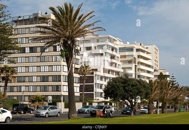 Residenrtial buildings along the Beach Road in Sea Point near Cape Town, South Africa - Stock Image