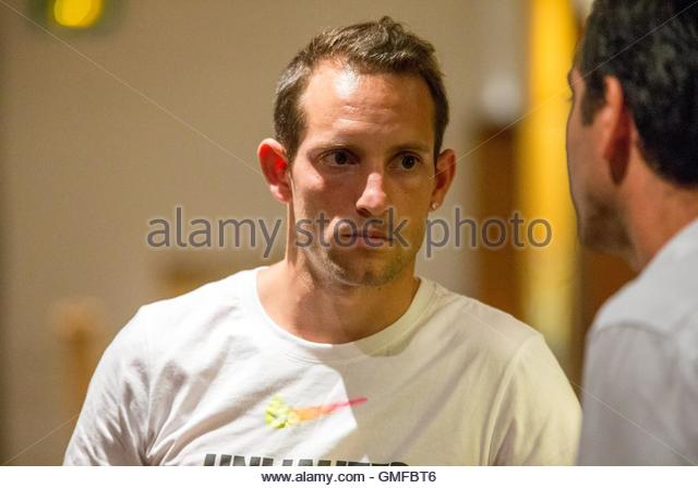 Paris, France. 26th Aug, 2016. French pole vaulter Renaud Lavillenie takes part in a press conference ahead of the - Stock Image