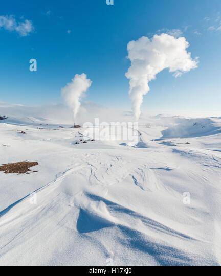 Rising steam, Hverarönd, also Hverir or Namaskard, geothermal area, North Iceland, Iceland - Stock Image