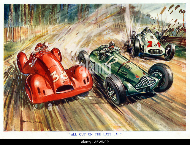 All Out On The Last Lap 1930 s boys magazine illustration of the climax of a motor race - Stock Image