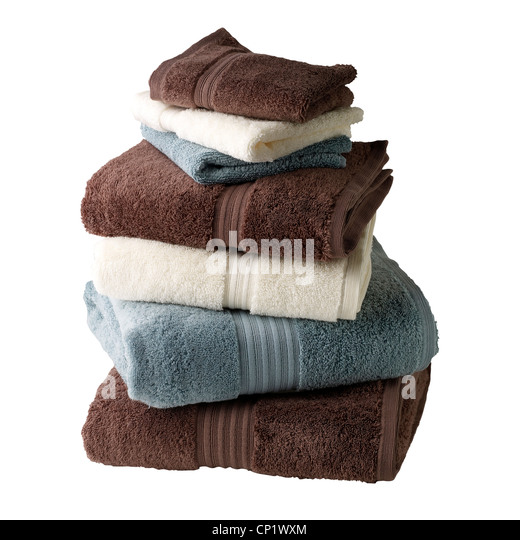 A still life shot of a stack of bath towels - Stock Image