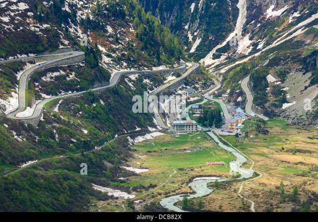 Hairpin on the Furka and Grimsel pass in the Swiss Alps, near Gletsch - Stock Image
