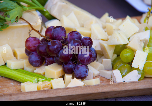 Grapes and cheese - Stock Image
