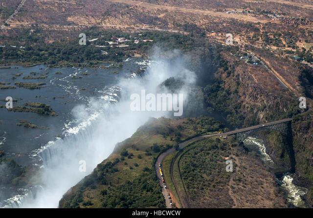 Victoria Falls, aerial view, Zimbabwe - Stock Image