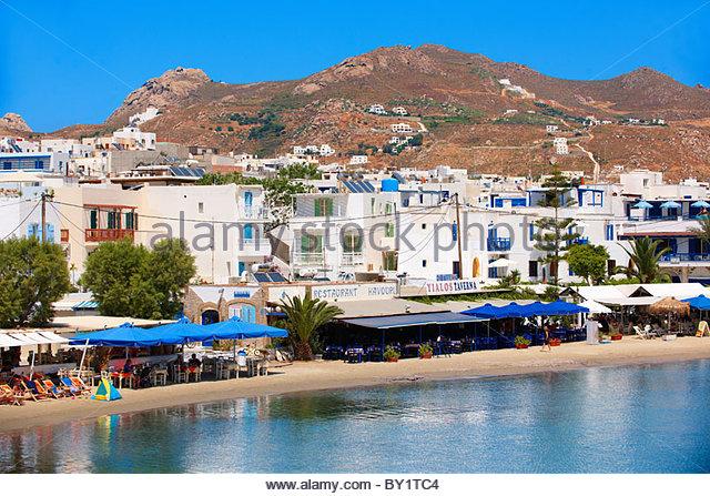 Naxos ( Chora ) town Saint Georges Beach . Greek Cyclades Islands Greece - Stock Image