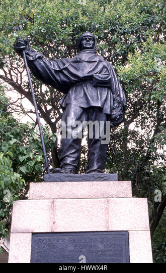 statue of Captain Robert Falcon Scott o Waterloo Steps London - Stock Image